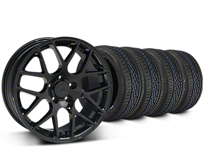 Staggered AMR Black Wheel & Continental Extreme Contact DWS06 Tire Kit - 19x8.5/11 (15-18 GT, EcoBoost, V6)