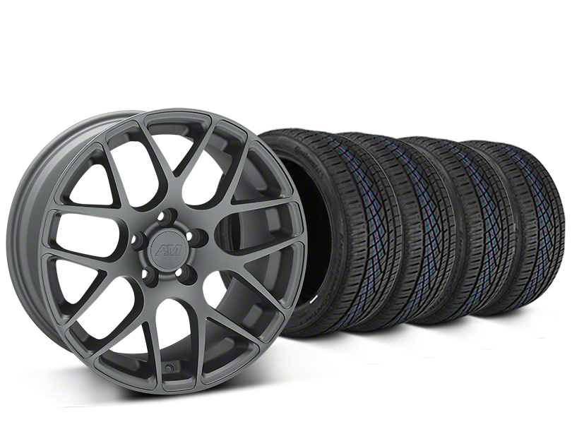 Staggered AMR Charcoal Wheel & Continental Extreme Contact DWS06 Tire Kit - 19x8.5/11 (15-18 GT, EcoBoost, V6)