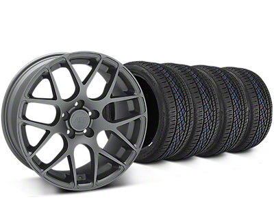 Staggered AMR Charcoal Wheel & Continental Extreme Contact DWS06 Tire Kit - 19x8.5/11 (15-17 All)