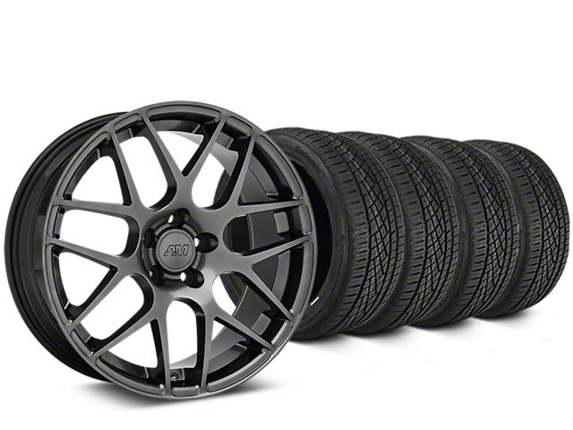 Staggered AMR Dark Stainless Wheel & Continental Extreme Contact DWS06 Tire Kit - 19x8.5/11 (15-19 GT, EcoBoost, V6)