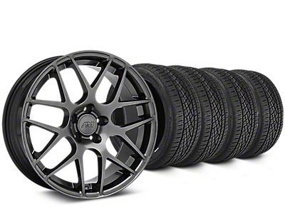 Staggered AMR Dark Stainless Wheel & Continental Extreme Contact DWS06 Tire Kit - 19x8.5/11 (15-18 GT, EcoBoost, V6)