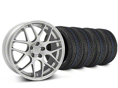 Staggered AMR Silver Wheel & Continental Extreme Contact DWS06 Tire Kit - 19x8.5/11 (15-18 All)