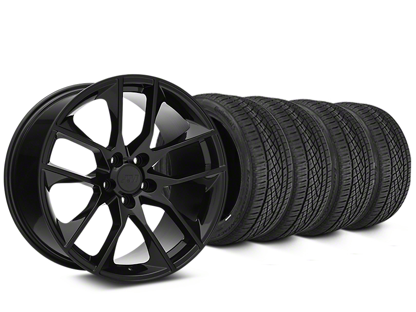 Staggered Magnetic Style Black Wheel & Continental Extreme Contact DWS06 Tire Kit - 19x8.5/10 (15-18 All)