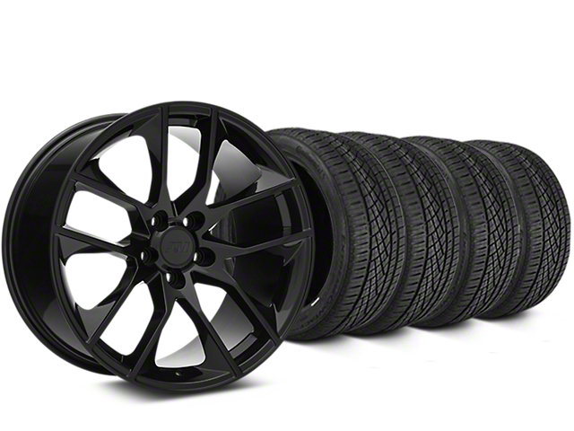 Staggered Magnetic Style Black Wheel and Continental Extreme Contact DWS06 Tire Kit; 19x8.5/10 (15-20 GT, EcoBoost, V6)