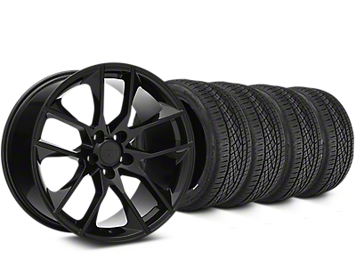 Staggered Magnetic Style Black Wheel & Continental Extreme Contact DWS06 Tire Kit - 19x8.5/10 (15-18 GT, EcoBoost, V6)
