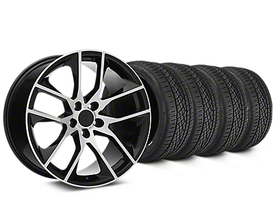 Staggered Magnetic Style Black Machined Wheel & Continental Extreme Contact DWS06 Tire Kit - 19x8.5/10 (15-19 GT, EcoBoost, V6)