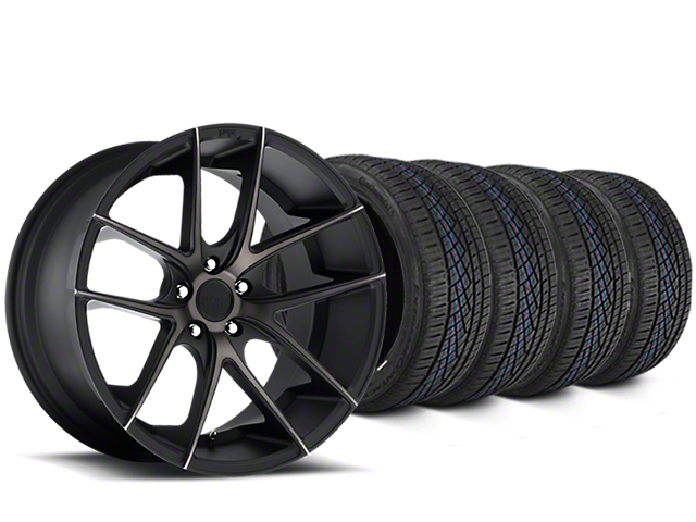 Staggered Niche Targa Matte Black Wheel & Continental Extreme Contact DWS06 Tire Kit - 19x8/10 (15-18 All)