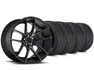 Staggered Niche Targa Matte Black Wheel & Continental Extreme Contact DWS06 Tire Kit - 19x8/10 (15-17 All)