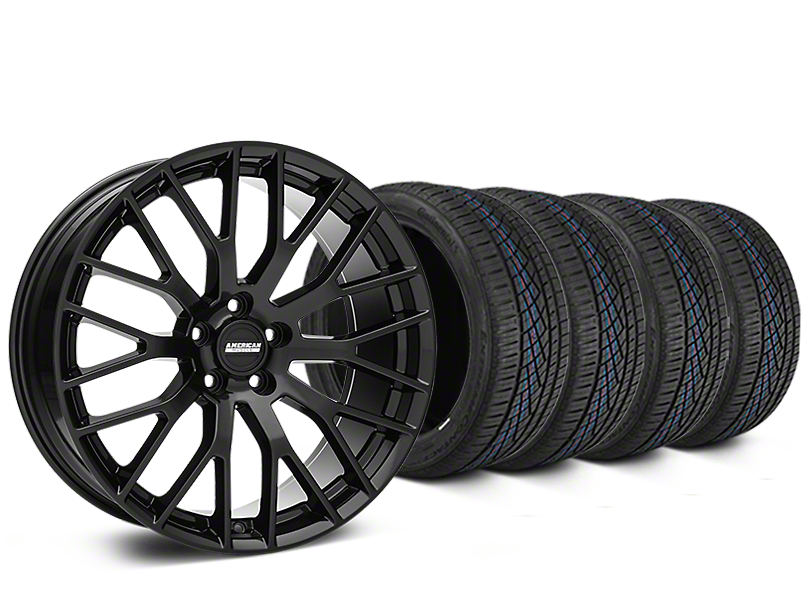 Staggered Performance Pack Style Black Wheel and Continental Extreme Contact DWS06 Tire Kit; 19x8.5/10 (15-20 GT, EcoBoost, V6)