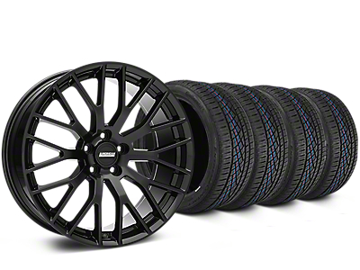 Staggered Performance Pack Style Black Wheel & Continental Extreme Contact DWS06 Tire Kit - 19x8.5/10 (15-17 All)