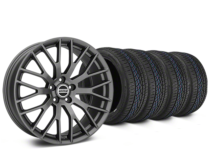 Staggered Performance Pack Style Charcoal Wheel & Continental Extreme Contact DWS06 Tire Kit - 19x8.5/10 (15-17 All)