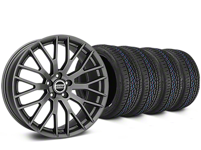 Staggered Performance Pack Style Charcoal Wheel & Continental Extreme Contact DWS06 Tire Kit - 19x8.5/10 (15-18 All)