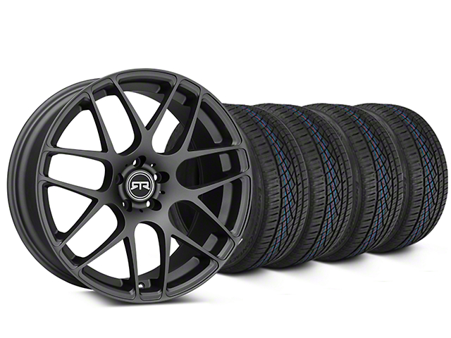 Staggered RTR Charcoal Wheel & Continental Extreme Contact DWS06 Tire Kit - 19x8.5/10 (15-18 All)