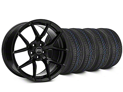 Staggered RTR Tech 5 Black Wheel & Continental Extreme Contact DWS06 Tire Kit - 19x9.5/10.5 (15-18 GT, EcoBoost, V6)