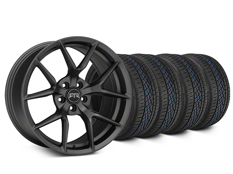 Staggered RTR Tech 5 Charcoal Wheel and Continental Extreme Contact DWS06 Tire Kit; 19x9.5/10.5 (15-20 GT, EcoBoost, V6)