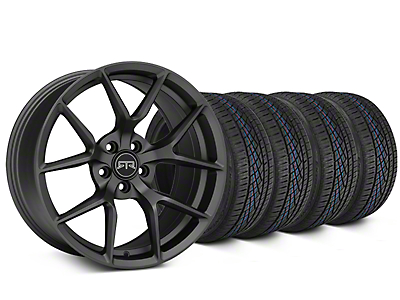 Staggered RTR Tech 5 Charcoal Wheel & Continental Extreme Contact DWS06 Tire Kit - 19x9.5/10.5 (15-17 GT, V6, and EcoBoost)