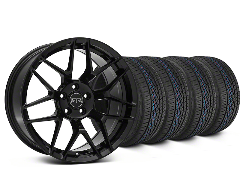 Staggered RTR Tech 7 Black Wheel & Continental Extreme Contact DWS06 Tire Kit - 19x9.5/10.5 (15-17 EcoBoost, GT, and V6)