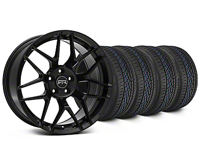 Staggered RTR Tech 7 Black Wheel & Continental Extreme Contact DWS06 Tire Kit - 19x9.5/10.5 (15-18 GT, EcoBoost, V6)