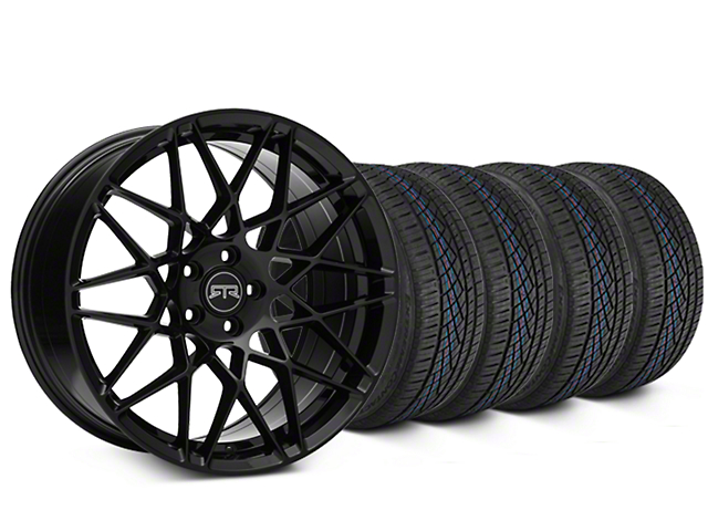 Staggered RTR Tech Mesh Black Wheel & Continental Extreme Contact DWS06 Tire Kit - 19x9.5/10.5 (15-17 GT, V6, and EcoBoost)