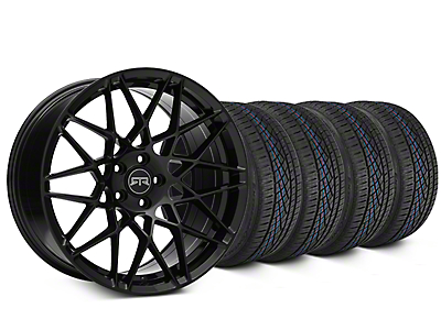 Staggered RTR Tech Mesh Black Wheel & Continental Extreme Contact DWS06 Tire Kit - 19x9.5/10.5 (15-18 GT, V6, and EcoBoost)
