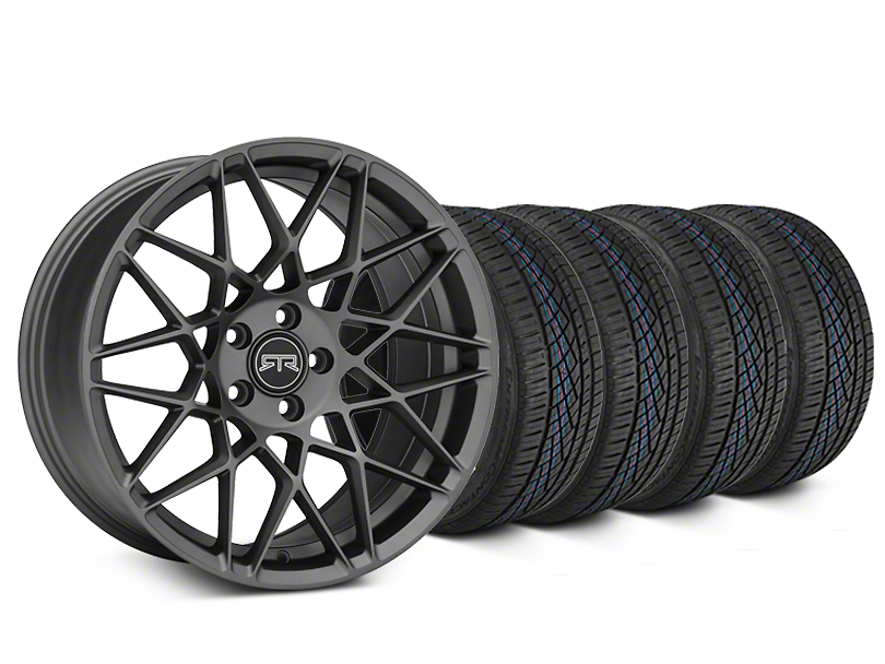 Staggered RTR Tech Mesh Charcoal Wheel & Continental Extreme Contact DWS06 Tire Kit - 19x9.5/10.5 (15-17 V6, GT, and EcoBoost)