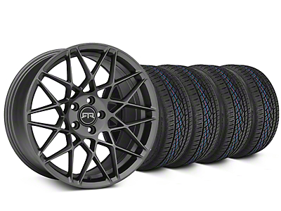 Staggered RTR Tech Mesh Charcoal Wheel & Continental Extreme Contact DWS06 Tire Kit - 19x9.5/10.5 (15-18 GT, EcoBoost, V6)