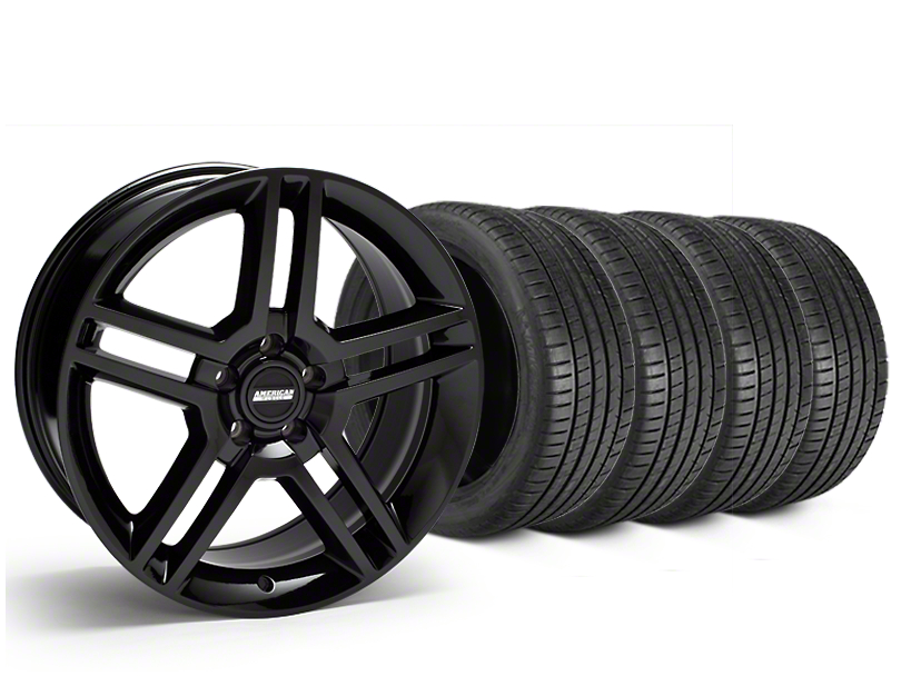 Staggered 2010 GT500 Style Black Wheel & Michelin Pilot Super Sport Tire Kit - 19 in. - 2 Rear Options (15-18 GT, EcoBoost, V6)