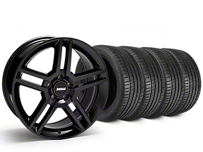 Staggered 2010 GT500 Style Black Wheel & Michelin Pilot Super Sport Tire Kit - 19 in. - 2 Rear Options (15-19 GT, EcoBoost, V6)