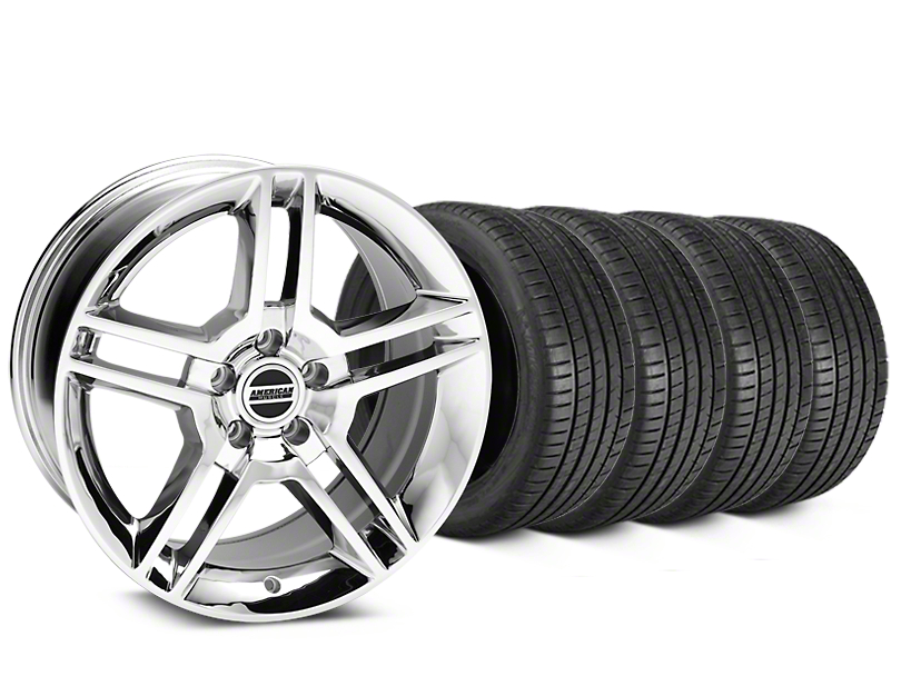 Staggered 2010 GT500 Style Chrome Wheel & Michelin Pilot Super Sport Tire Kit - 19 in. - 2 Rear Options (15-18 GT, EcoBoost, V6)