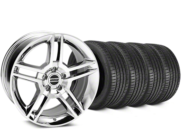 Staggered 2010 GT500 Style Chrome Wheel & Michelin Pilot Super Sport Tire Kit - 19 in. - 2 Rear Options (15-19 GT, EcoBoost, V6)