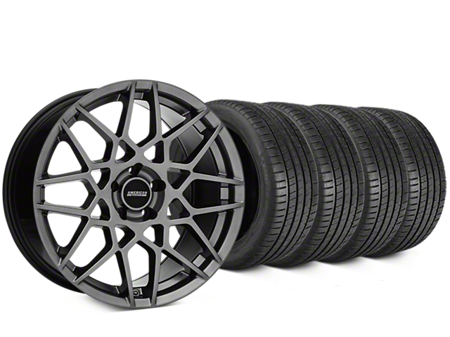 Staggered 2013 GT500 Style Hyper Dark Wheel & Michelin Pilot Super Sport Tire Kit - 19 in. - 2 Rear Options (15-18 GT, EcoBoost, V6)