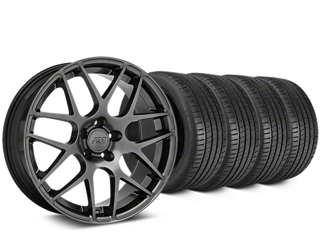 Staggered AMR Dark Stainless Wheel & Michelin Pilot Super Sport Tire Kit - 19 in. - 2 Rear Options (15-18 GT, EcoBoost, V6)