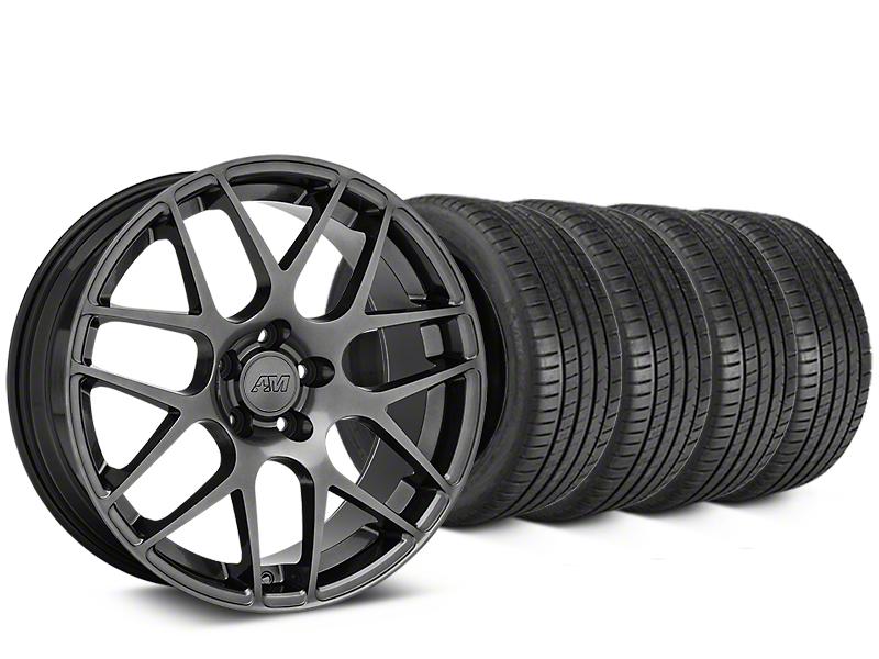 Staggered AMR Dark Stainless Wheel & Michelin Pilot Super Sport Tire Kit - 19 in. - 2 Rear Options (15-19 GT, EcoBoost, V6)