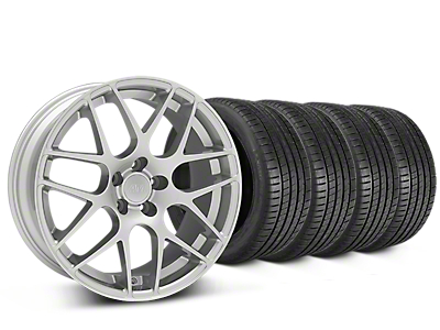 Staggered AMR Silver Wheel & Michelin Pilot Super Sport Tire Kit - 19 in. - 2 Rear Options (15-19 GT, EcoBoost, V6)