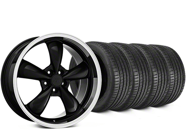 Staggered Bullitt Black Wheel & Michelin Pilot Super Sport Tire Kit - 19 in. - 2 Rear Options (15-18 EcoBoost, V6)