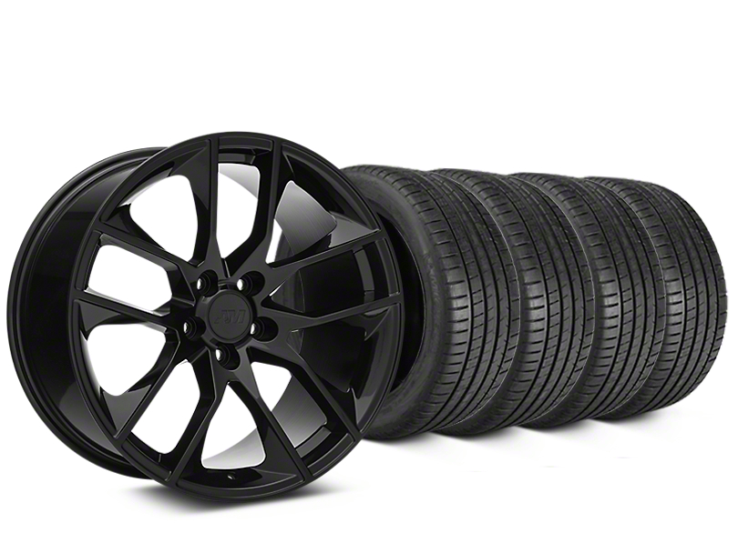 Staggered Magnetic Style Black Wheel & Michelin Pilot Super Sport Tire Kit - 19 in. - 2 Rear Options (15-18 All)