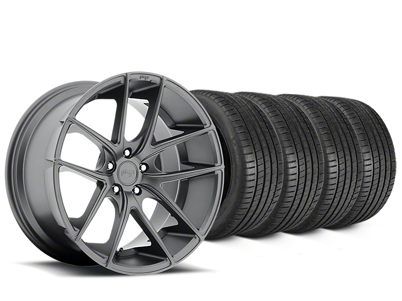 Staggered Niche Targa Matte Anthracite Wheel & Michelin Pilot Super Sport Tire Kit - 19 in. - 2 Rear Options (15-18 All)