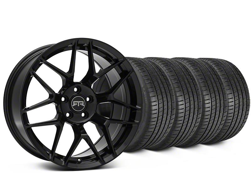 Staggered RTR Tech 7 Black Wheel & Michelin Pilot Super Sport Tire Kit - 19 in. - 2 Rear Options (15-19 All)