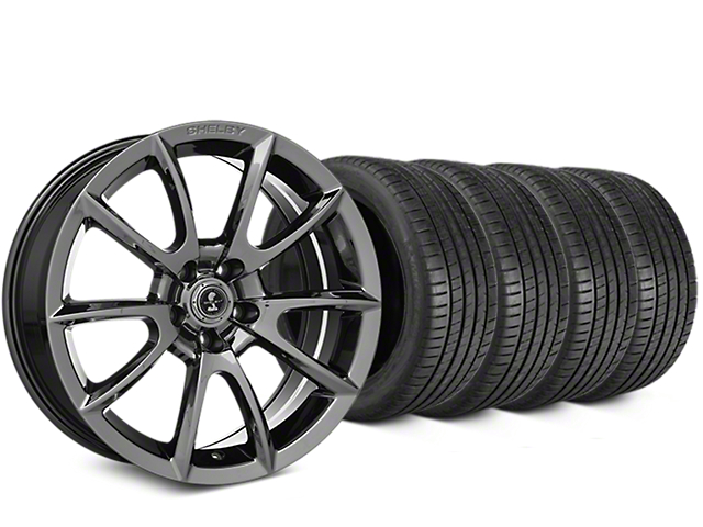 Staggered Shelby Super Snake Style Chrome Wheel & Michelin Pilot Super Sport Tire Kit - 19 in. - 2 Rear Options (15-18 All)