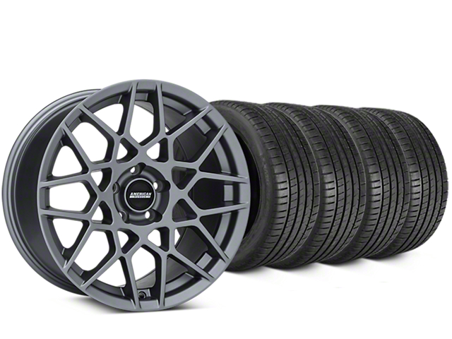 Staggered 2013 GT500 Style Charcoal Wheel & Michelin Pilot Super Sport Tire Kit - 20 in. - 2 Rear Options (05-14 All)