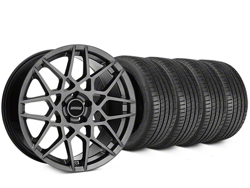 Staggered 2013 GT500 Style Hyper Dark Wheel & Michelin Pilot Super Sport Tire Kit - 20 in. - 2 Rear Options (05-14 All)