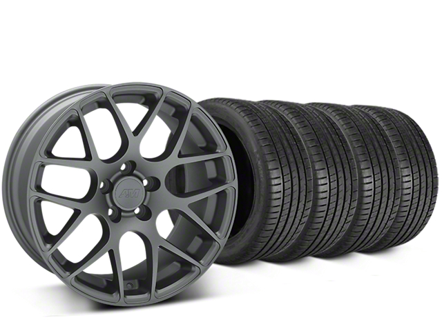Staggered AMR Charcoal Wheel & Michelin Pilot Super Sport Tire Kit - 20 in. - 2 Rear Options (05-14 All)