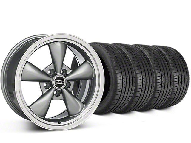 Staggered Bullitt Anthracite Wheel & Michelin Pilot Super Sport Tire Kit - 20 in. - 2 Rear Options (05-14 V6; 05-10 GT)