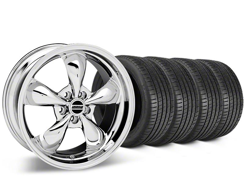Staggered Bullitt Chrome Wheel & Michelin Pilot Super Sport Tire Kit - 20 in. - 2 Rear Options (05-10 GT; 05-14 V6)