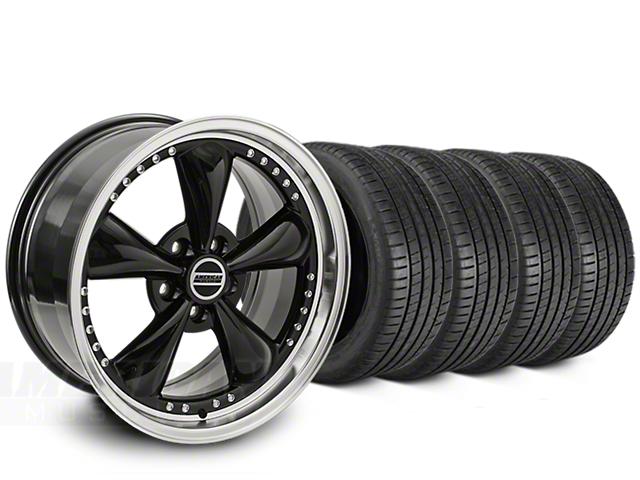 Staggered Bullitt Motorsport Black Wheel & Michelin Pilot Super Sport Tire Kit - 20 in. - 2 Rear Options (05-10 GT; 05-14 V6)