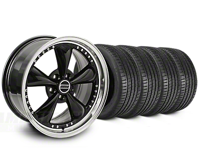 Staggered Bullitt Motorsport Black Wheel & Michelin Pilot Super Sport Tire Kit - 20 in. - 2 Rear Options (05-10 GT; 05-14 V6)