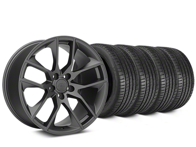 Staggered Magnetic Style Charcoal Wheel & Michelin Pilot Super Sport Tire Kit - 20 in. - 2 Rear Options (05-14 All)