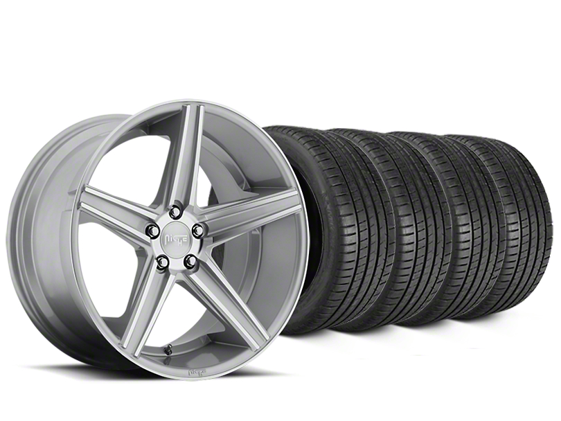 Staggered Niche Apex Machined Silver Wheel & Michelin Pilot Super Sport Tire Kit - 20 in. - 2 Rear Options (05-14 All)