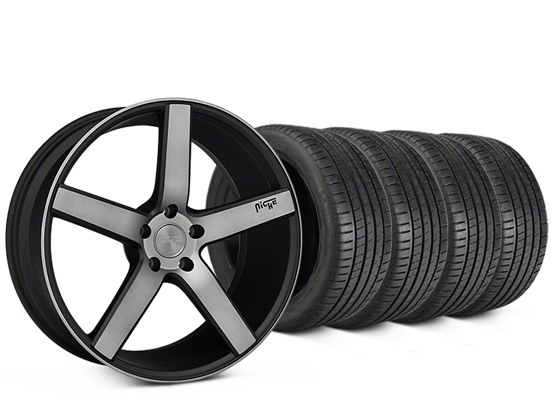 Staggered Niche Milan Matte Black Machined Wheel & Michelin Pilot Super Sport Tire Kit - 20 in. - 2 Rear Options (05-14 All)