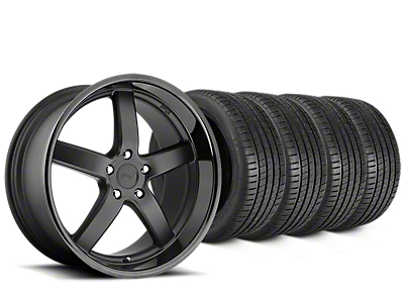 Staggered Niche Pantano Matte Black Wheel & Michelin Pilot Super Sport Tire Kit - 20 in. - 2 Rear Options (05-14 All)
